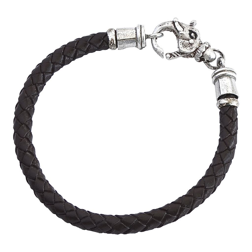Classic Sterling Elephant and Leather Bracelet