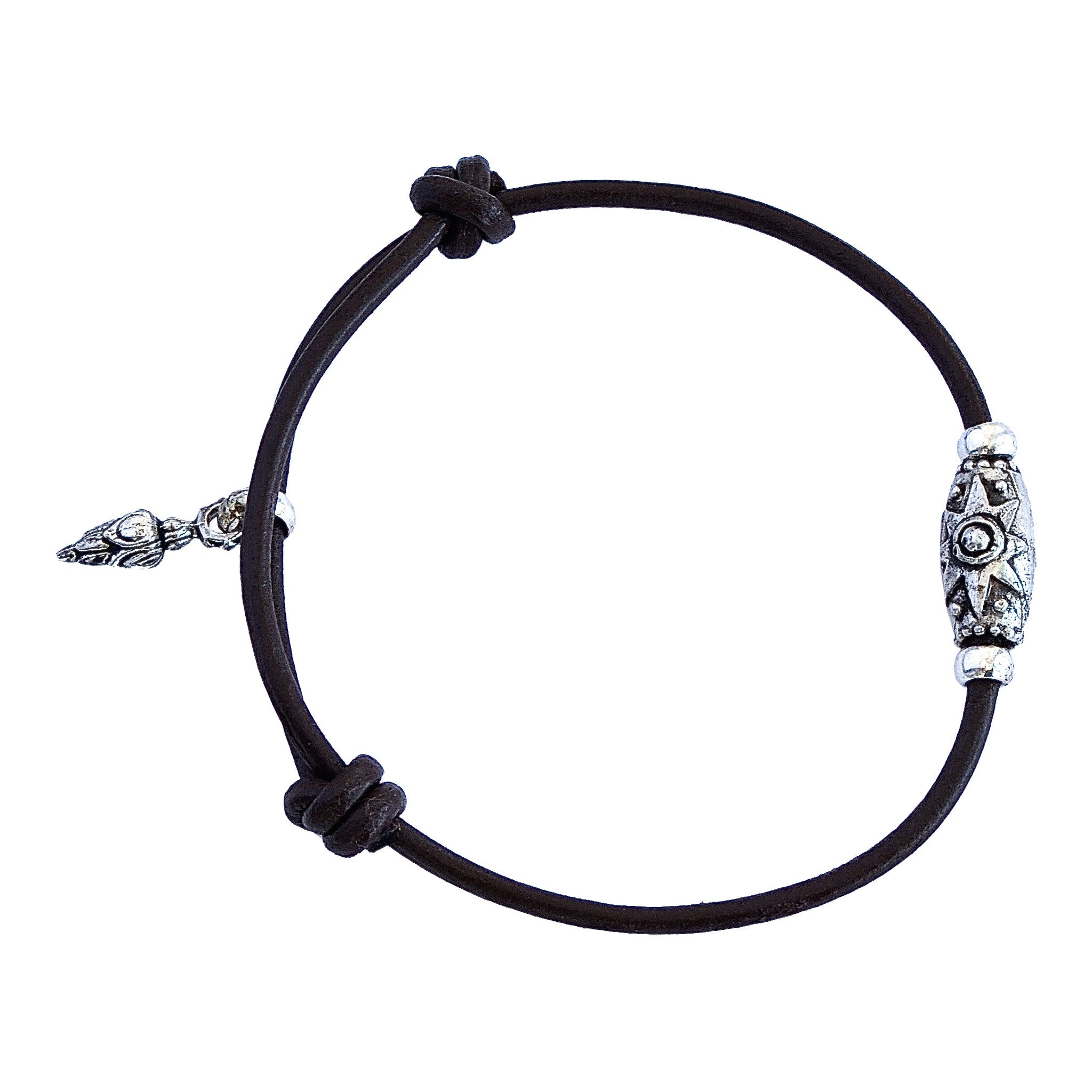 Leather Sterling Silver Star  Bracelet-Ebony