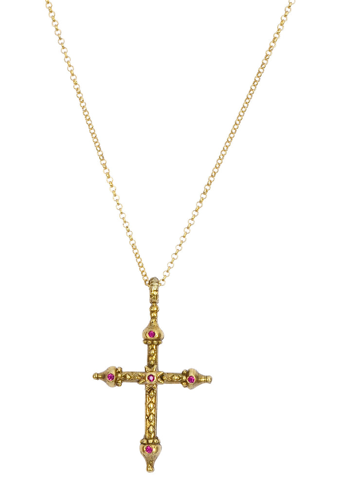 Red Sapphire Gold Artistic Cross Necklace