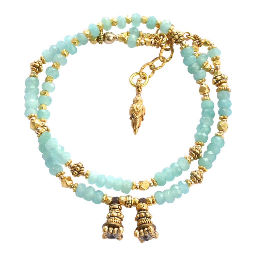 Pastel Blue Chacadony and Gold Wrap Bracelet