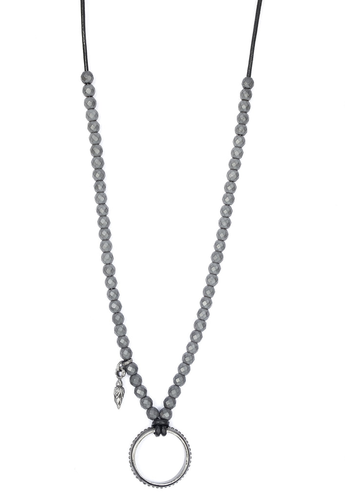 Matt Hematite and Leather EyeRing Necklace