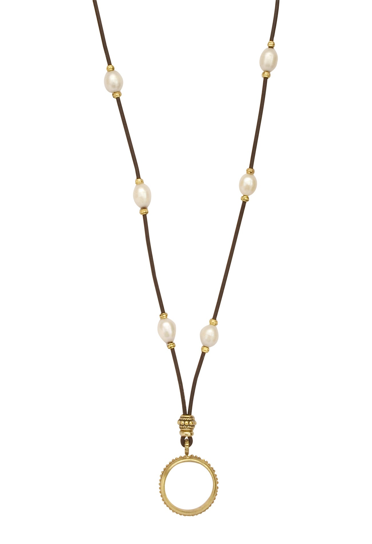 Golden Teardrops of the Angels Pearl and Leather Eyering Necklace