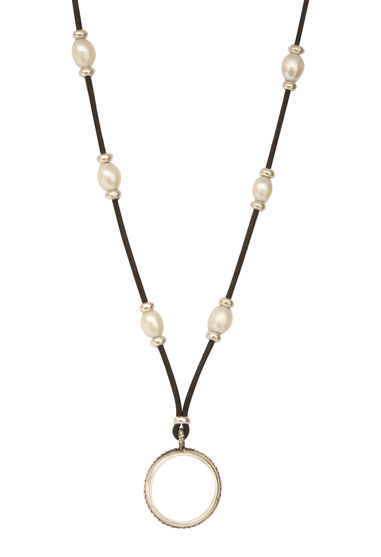 Teardrops of the Angels Pearl and Leather Eyering Necklace