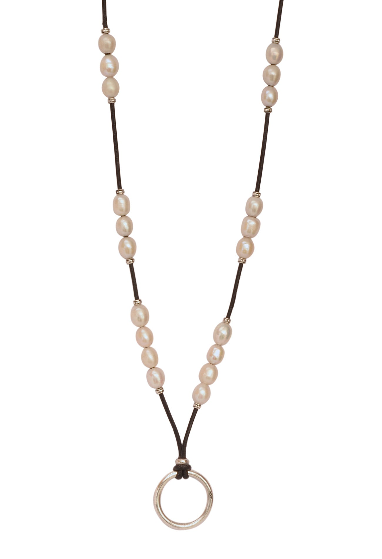 Leather and Pearl St Barths EyeRing Necklace