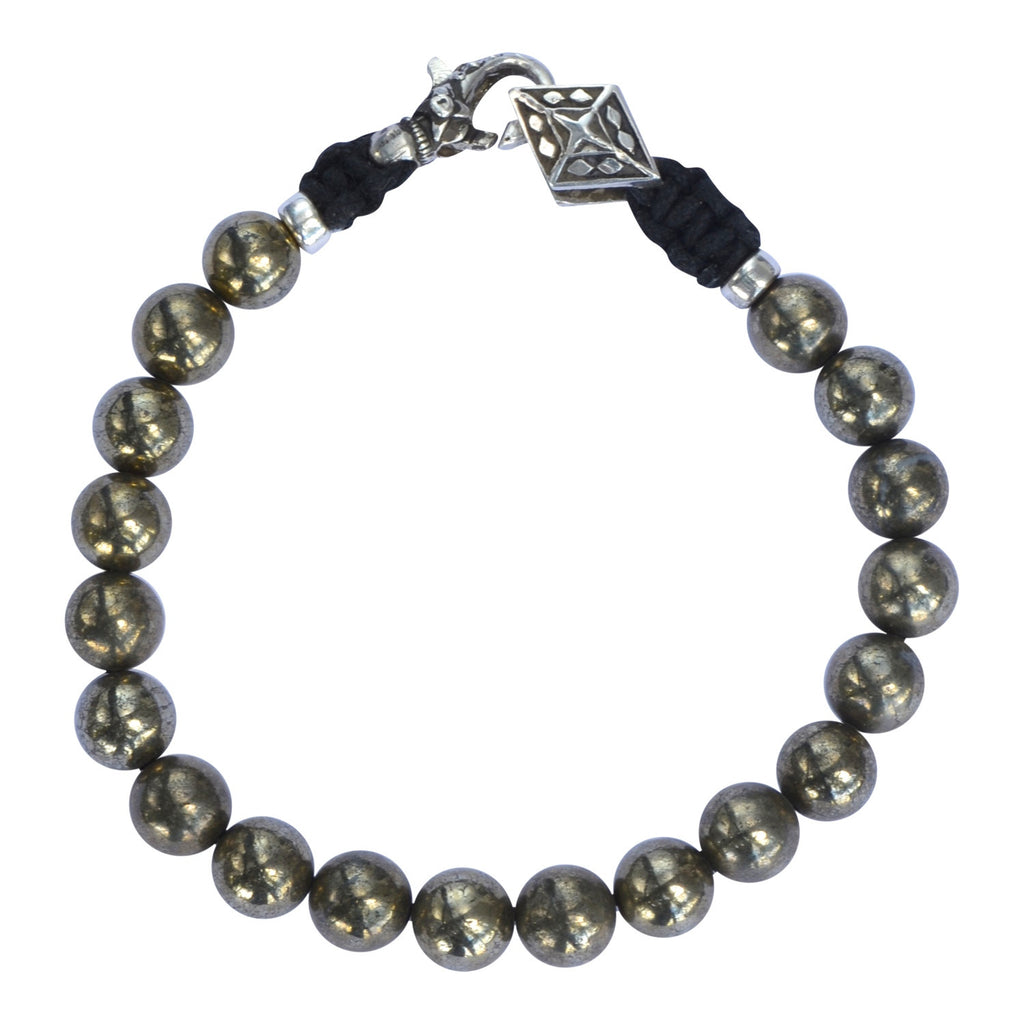 pyrite mens beaded bracelet