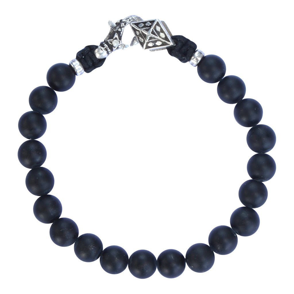Mens Black Onyx and Silver Bracelet