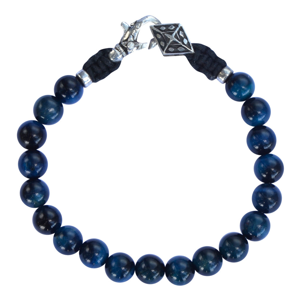 Blue Tiger Eye Silver Bracelet