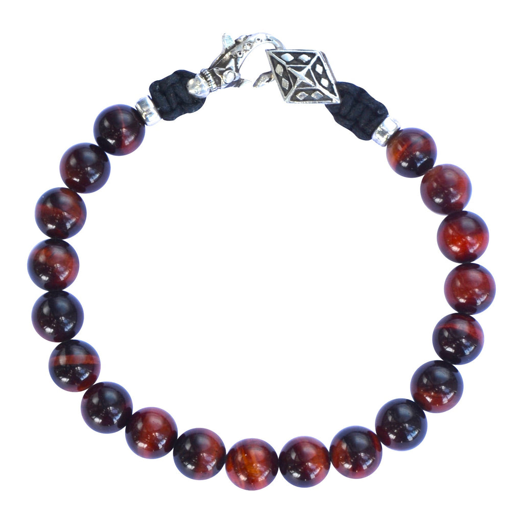 Red Tiger Eye and Silver Mens Bracelet
