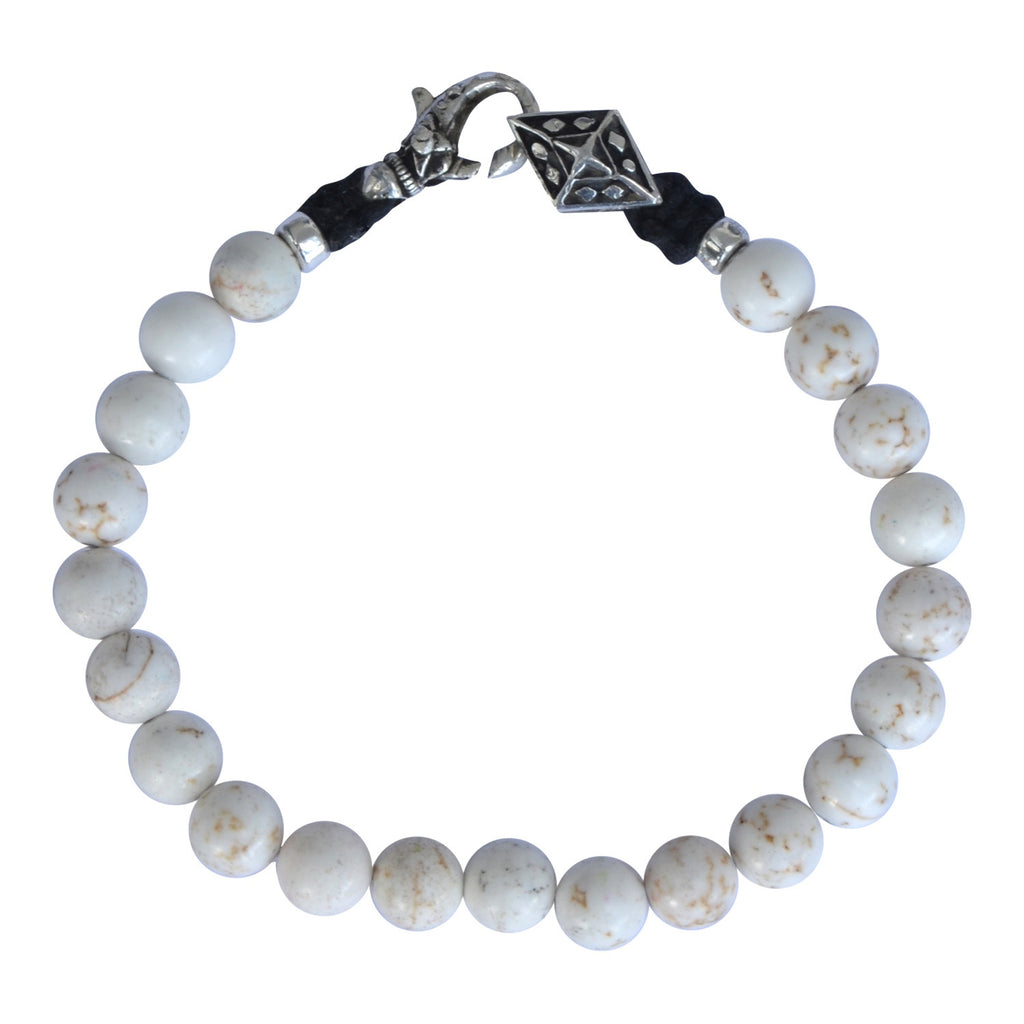 White Howlite and Silver Bracelet