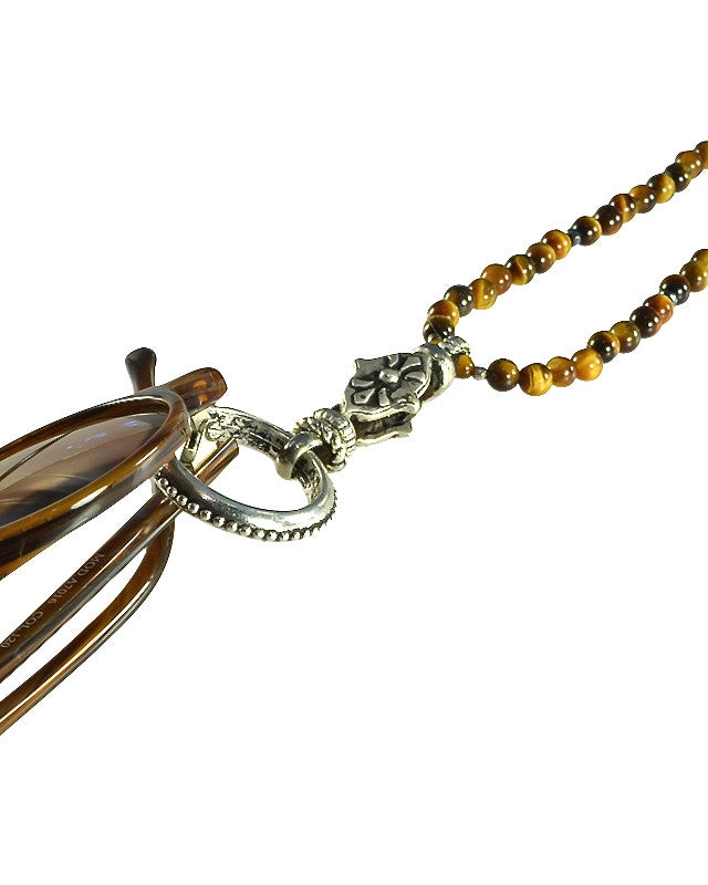 tiger eye and gold eyering necklace