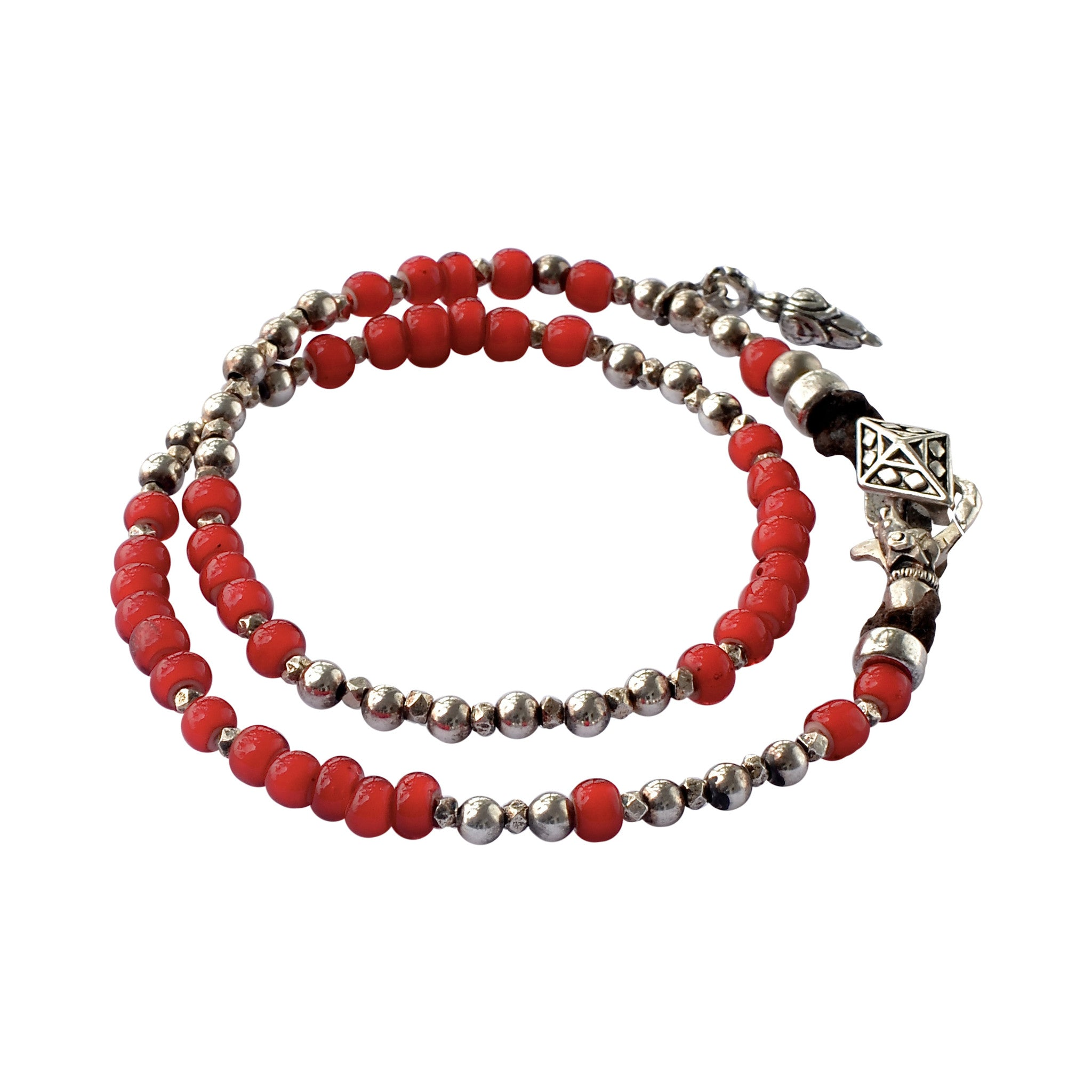 Conscious Red and Sterling Silver Wrap Bracelet