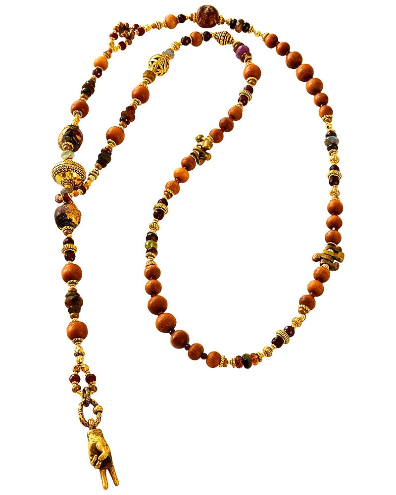 Sandalwood and Garnet Peace Is It Lariat Necklace