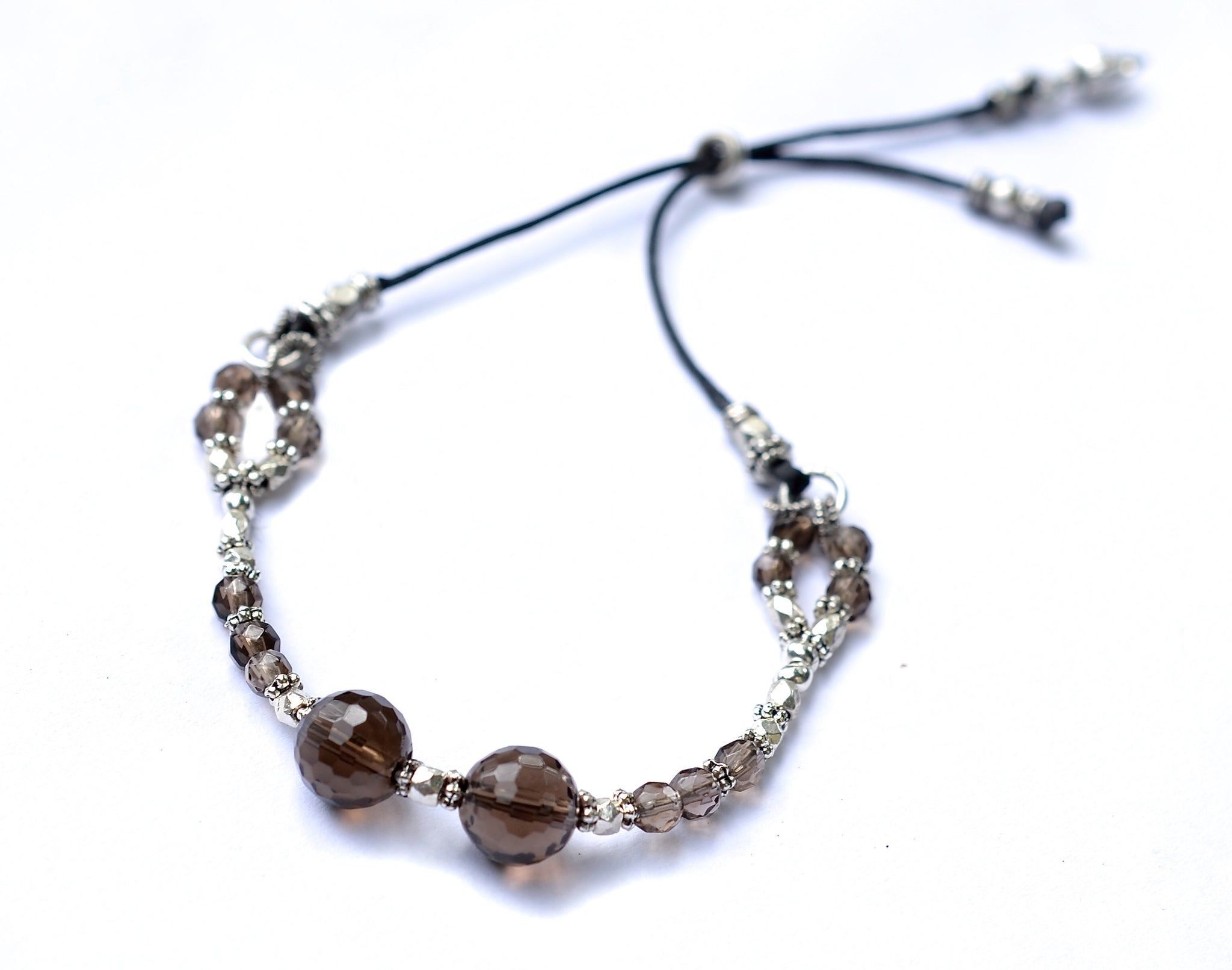 Smokey Quartz & Silver Adjustable Bracelet