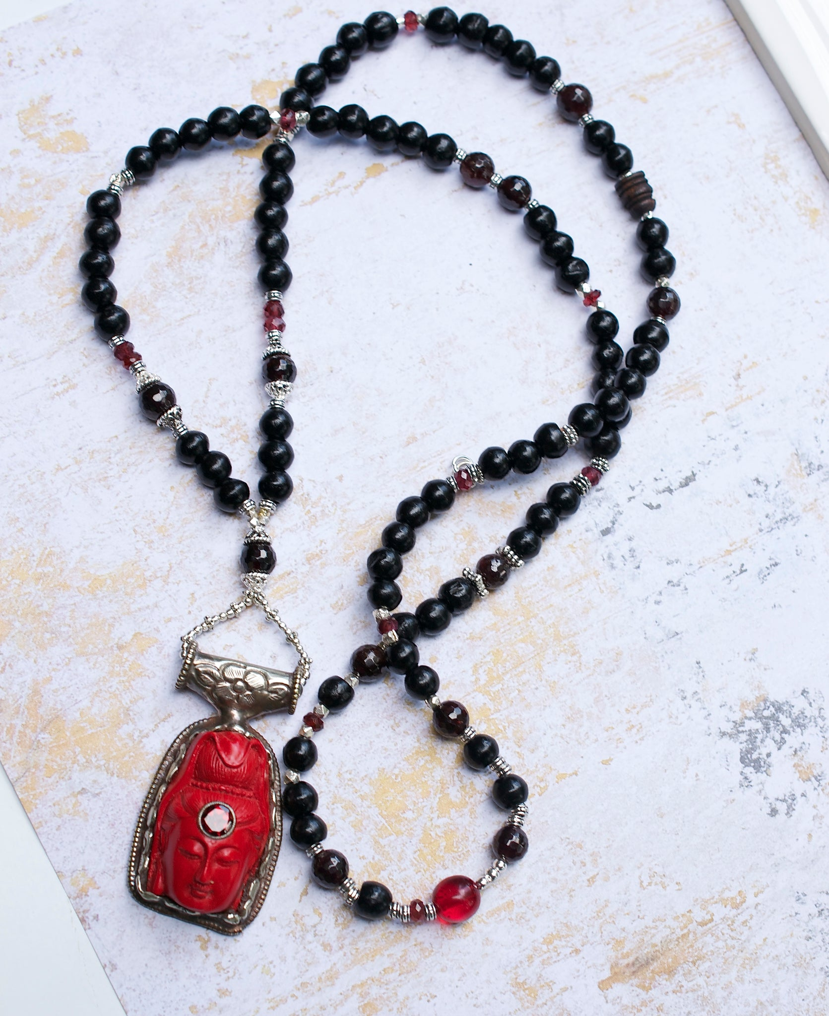 Red Quan Yin Compassion Necklace