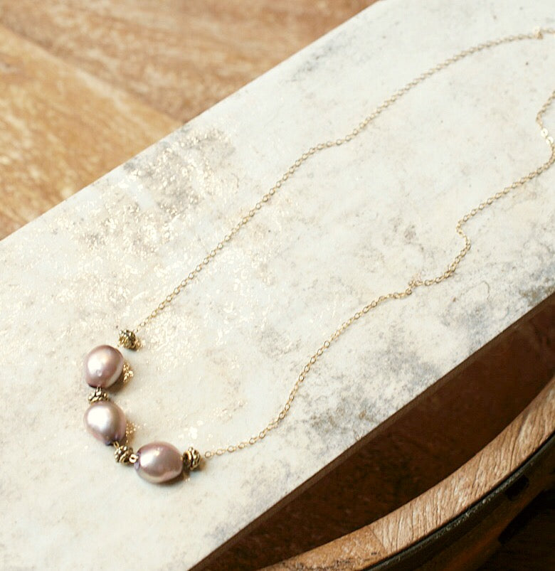 Delicate Baroque Pearl & Gold Necklace