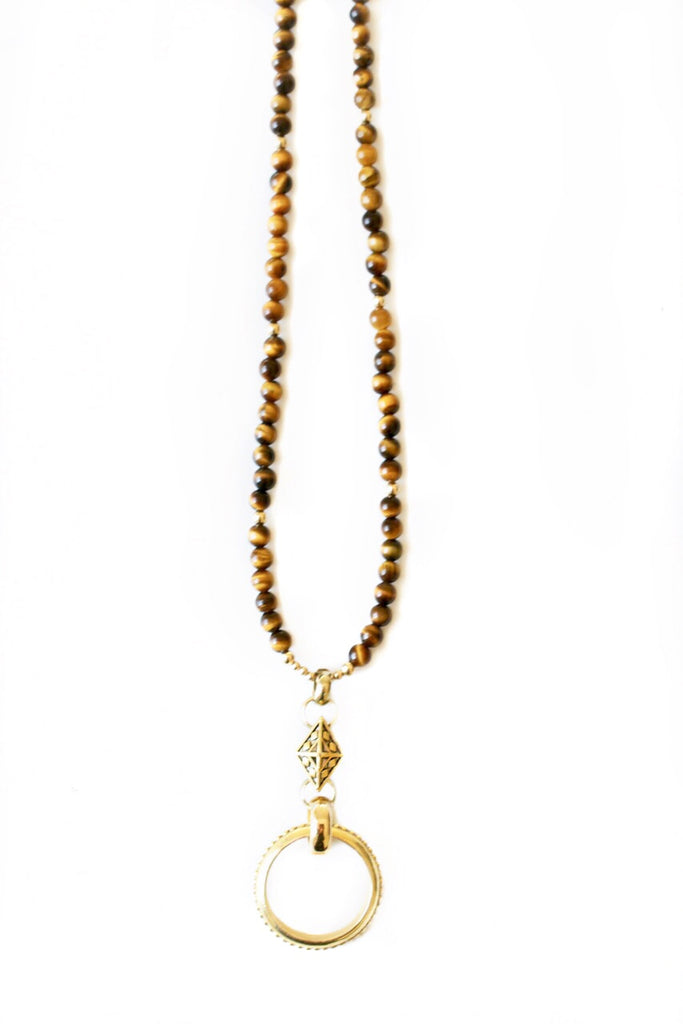 Tigers Eye Gold EyeRing Necklace