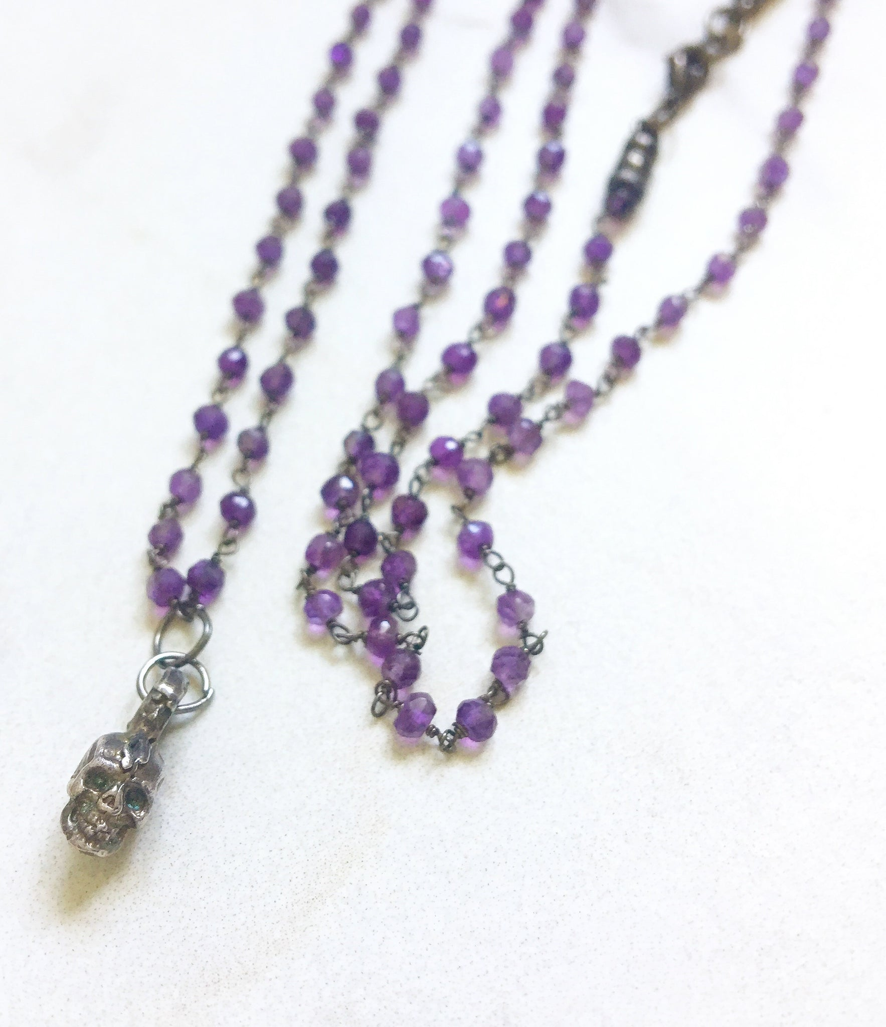 Long Amethyst and Sterling Baby Skull Necklace