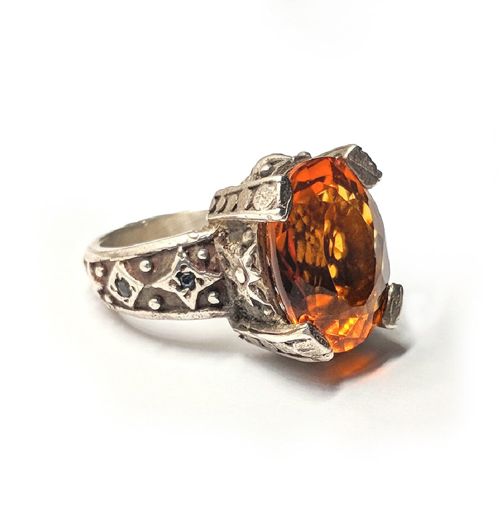 Sterling Silver Citrine Throne Ring