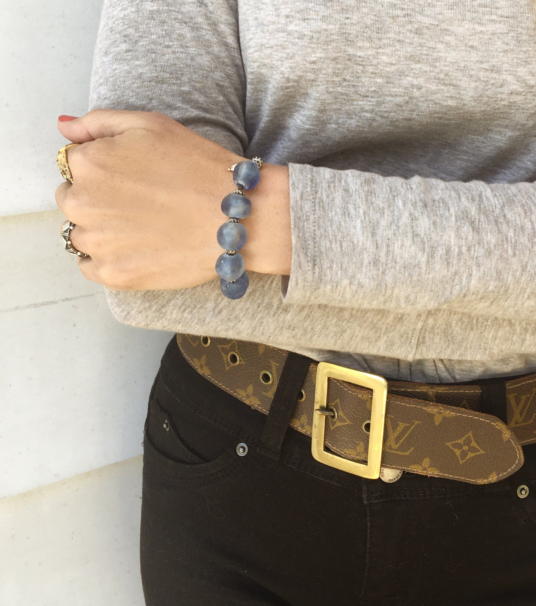 Sky Blue and Leather Bracelet