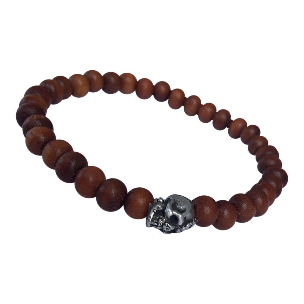 Mens Sandalwood and Skull Bracelet