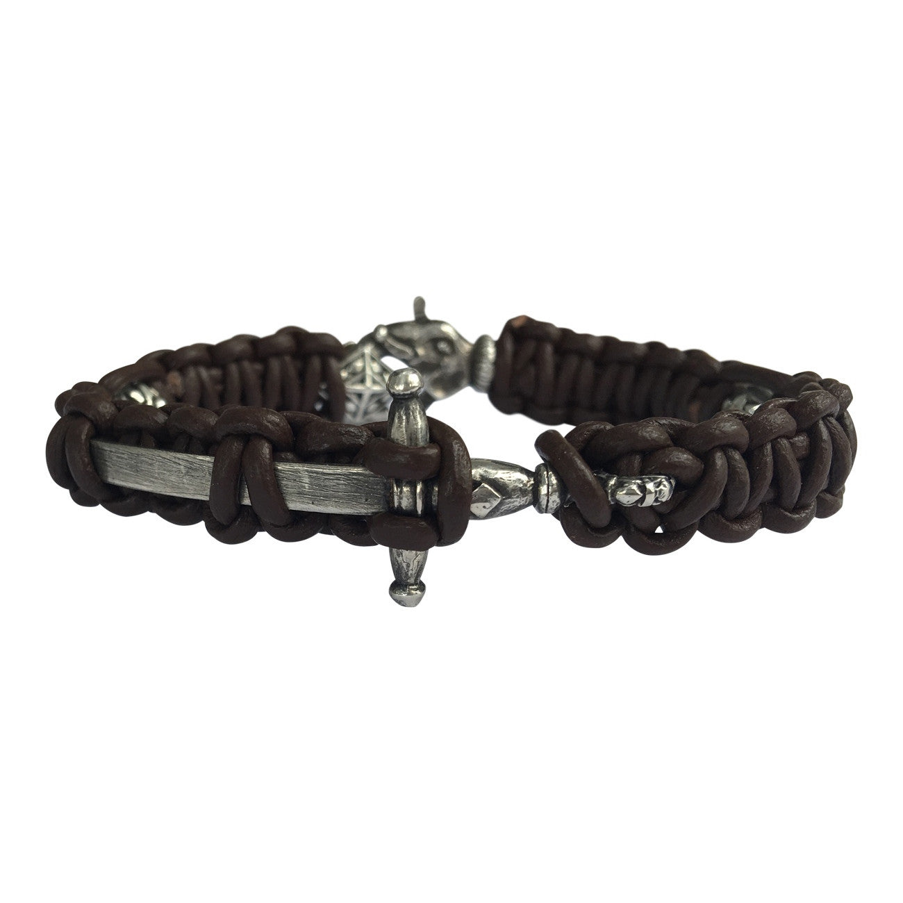 Leather and Sword Bracelet