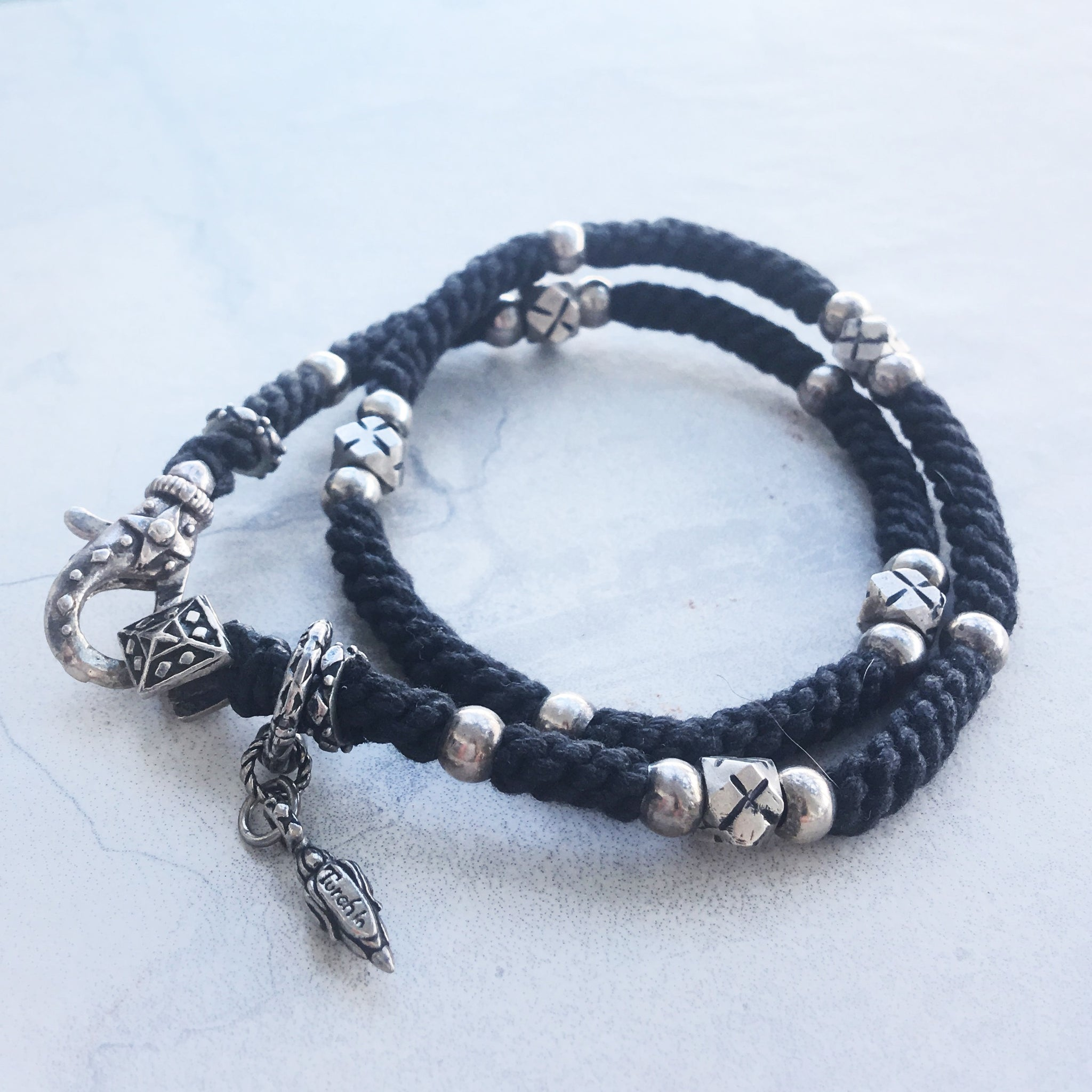 Sterling Silver And Rope Wrap Bracelet