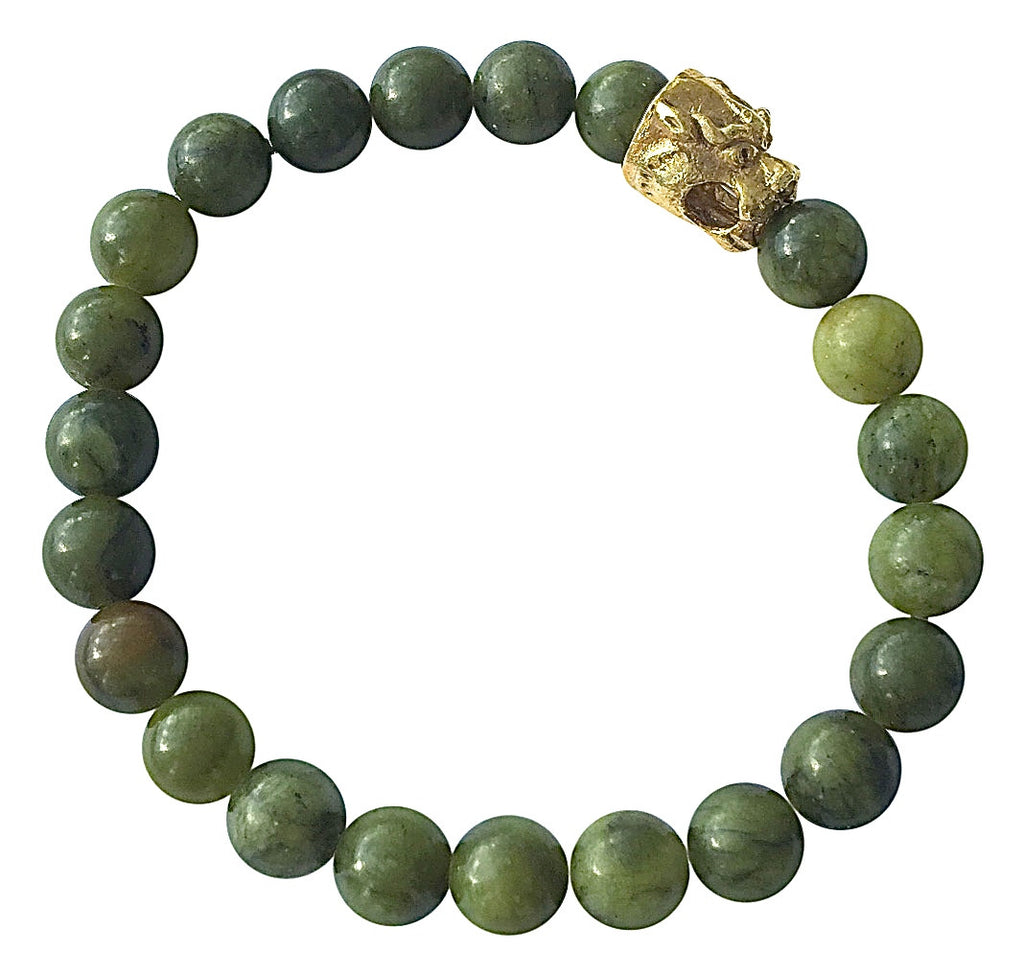 8mm Nue Jade Dragon Stretch Bracelet