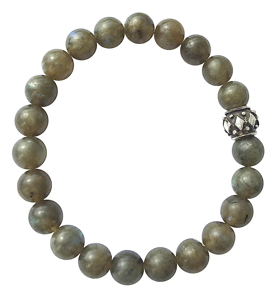 8mm Labradorite and Silver Bead Stretch Bracelet