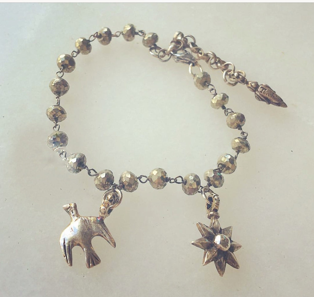 Pyrite and bird bracelet