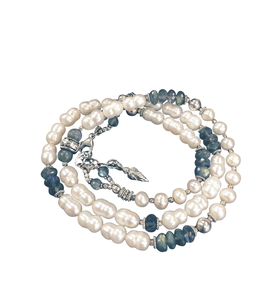 Baroque Pearl and Labradorite Wrap Bracelet