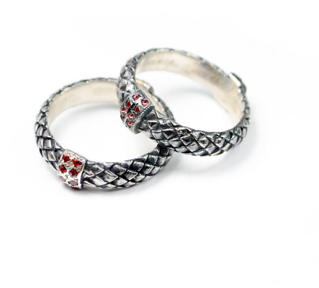serpent skin silver ring