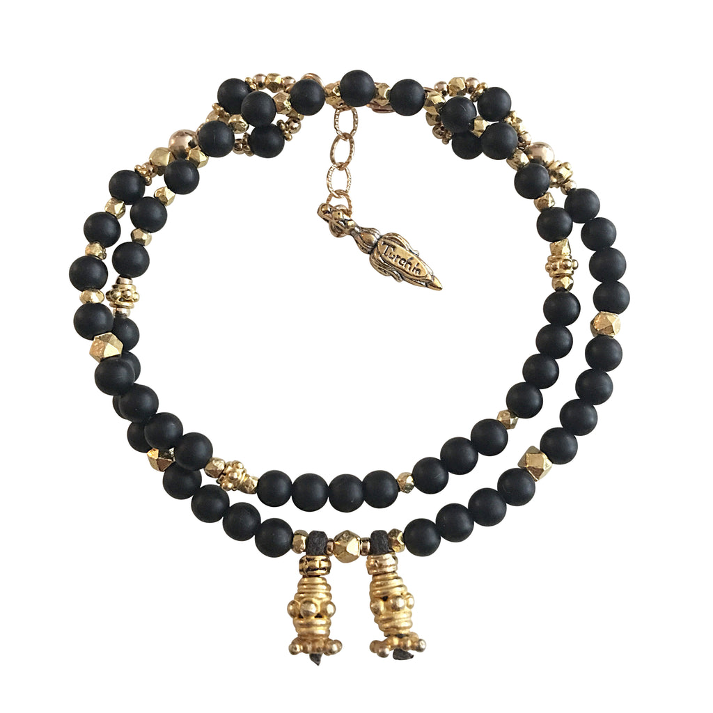 Matt Onyx and Gold LOVE Wrap Bracelet