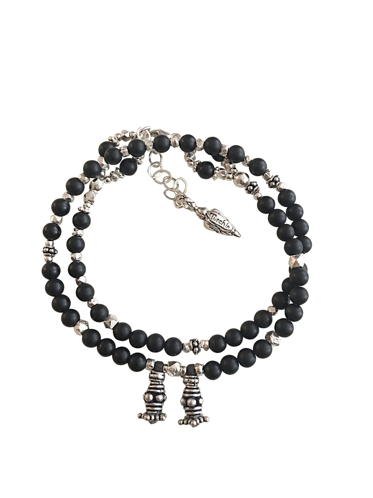 Matt black onyx and silver love wrap bracelet