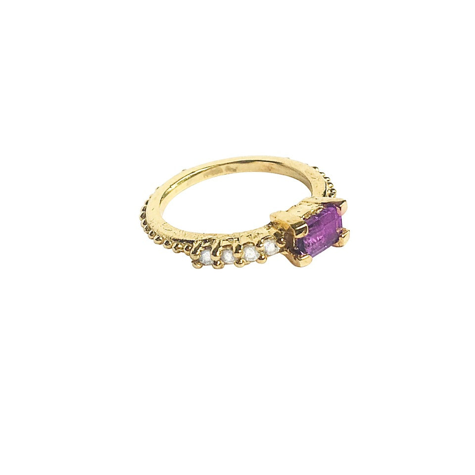 Gold Amethyst and Sapphire Gumdrop Ring