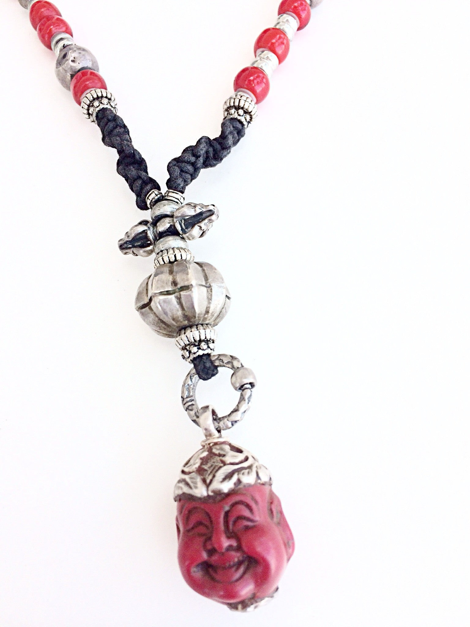 red happy Buddha jewelry pendant