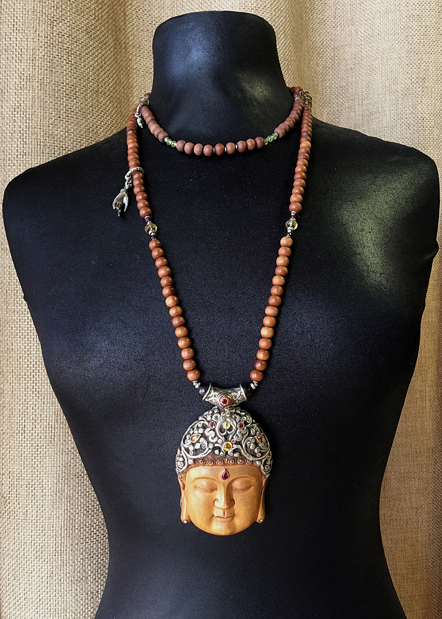 Sapphire Encrusted Buddha Necklace