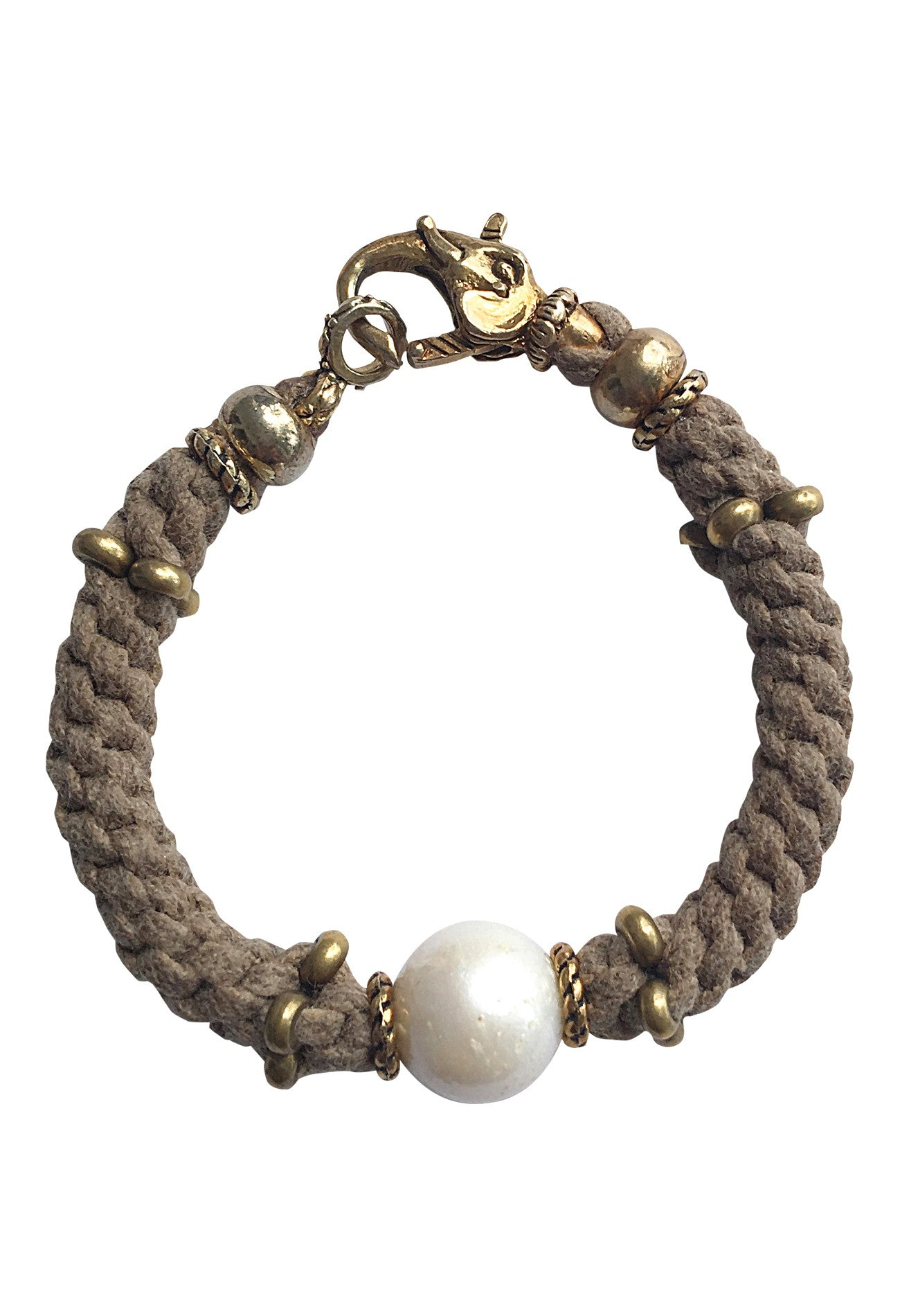 Elephant Clasp Pearl & Rope Bracelet