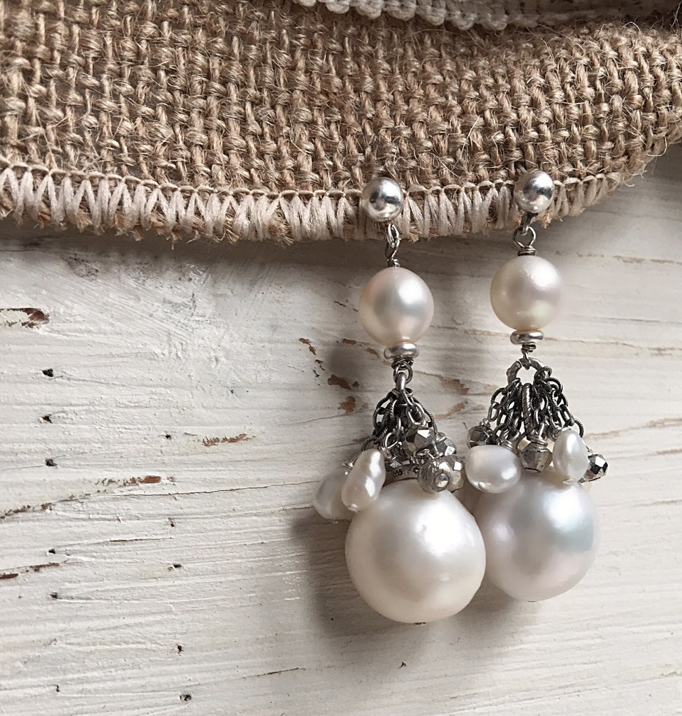 Sterling Silver Pyrite & Pearl Dangly Earring