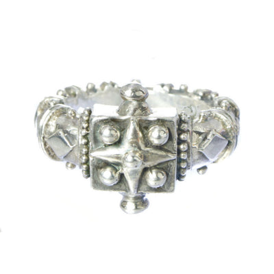 mens box star silver ring