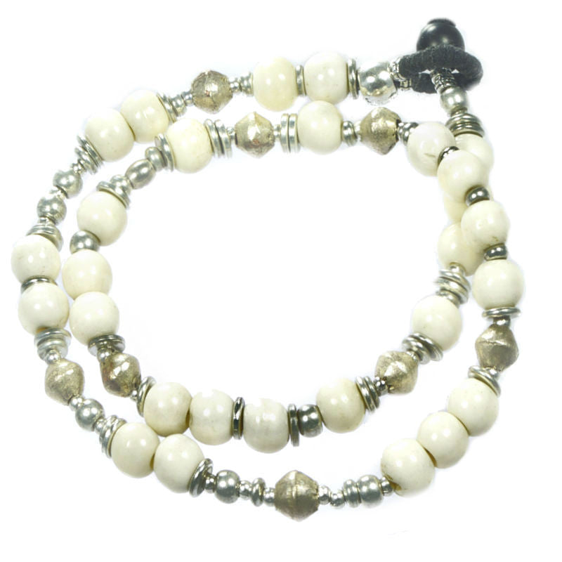 beaded silver wrap bracelet bone