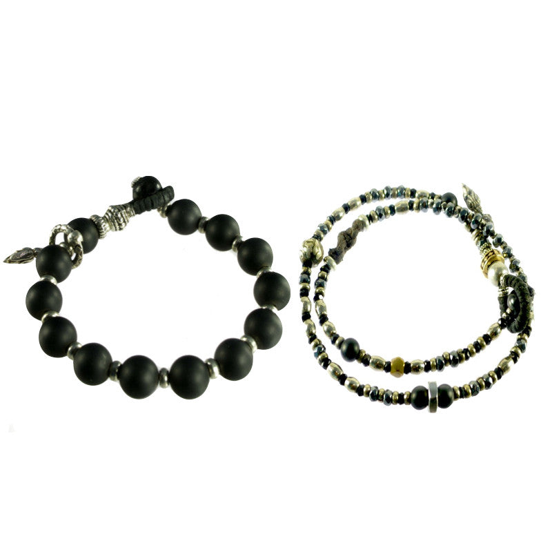 Hematite Wrap and T- Onyx  Bracelet Set