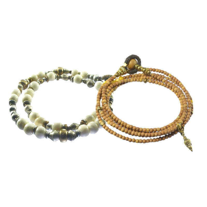 Sandalwood and Antique Mala Wrap Bracelets