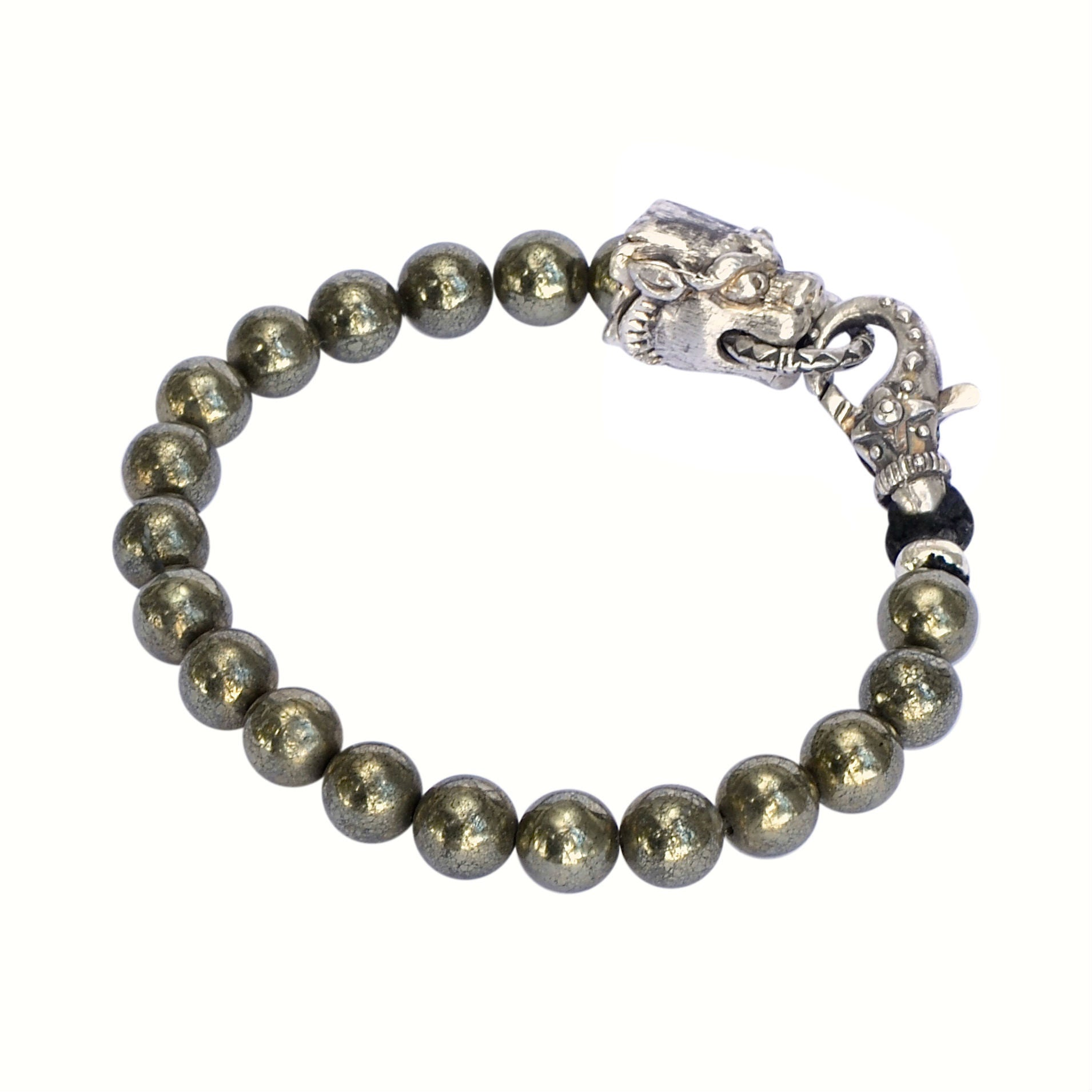 Mens Pyrite and silver bracelet