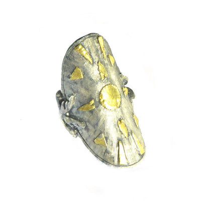 Silver and Gold Shield Ring 2