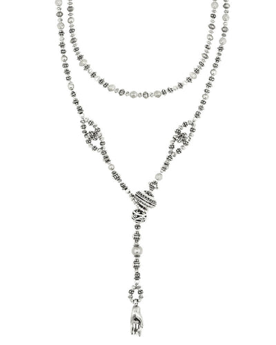 Silver Lariat Long Necklace