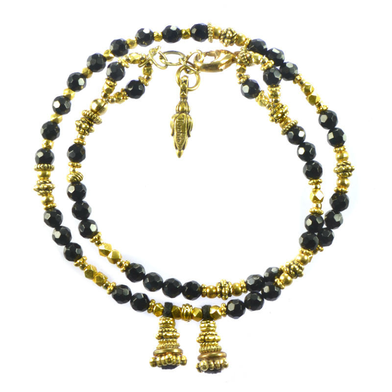 Black Onyx and Gold Wrap Bracelet