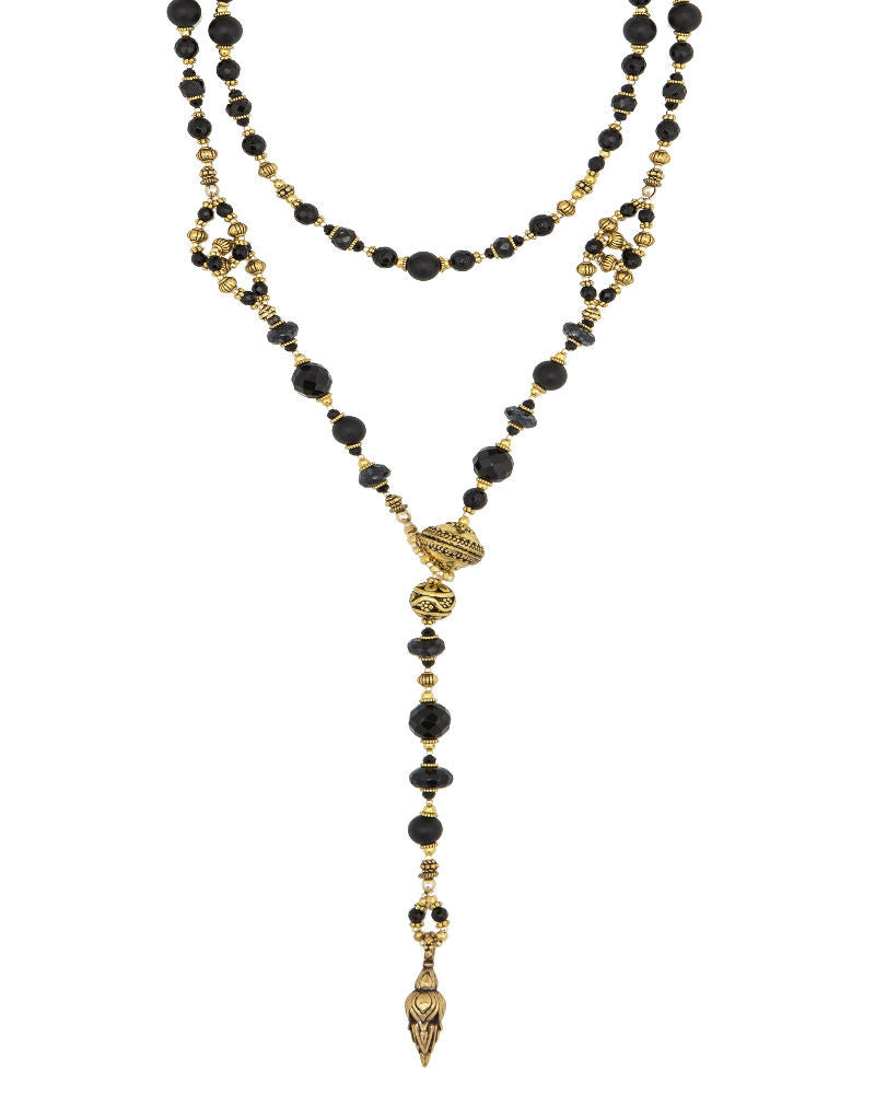Black Onyx and Gold Lariat