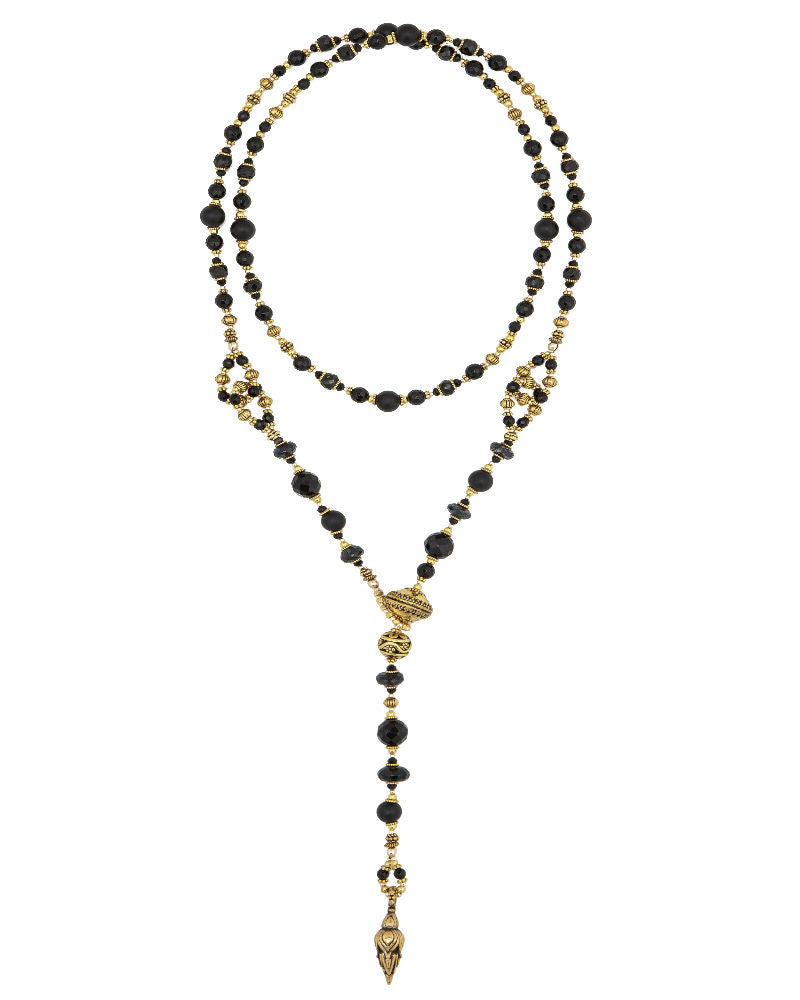 Black Onyx and Gold Lariat long