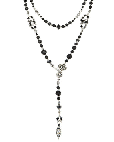 Black Onyx and Silver Lariat