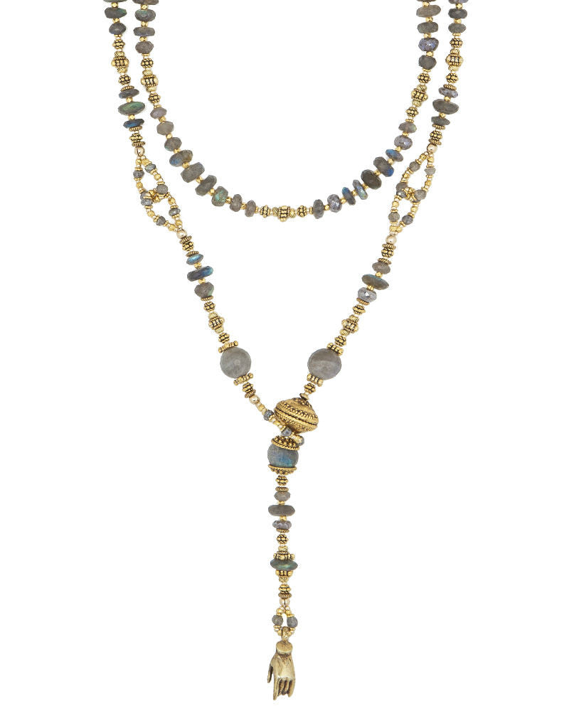 Labradorite and Gold Lariat
